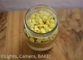 Mason Jar White Chocolate Chip Blondie Mix . Perfect gift for any occasion! So cute with enough white chocolate chips to satisfy that chocolate craving. Click the photo to purchase or browse different flavours. #masonjar #blondiemix #gift