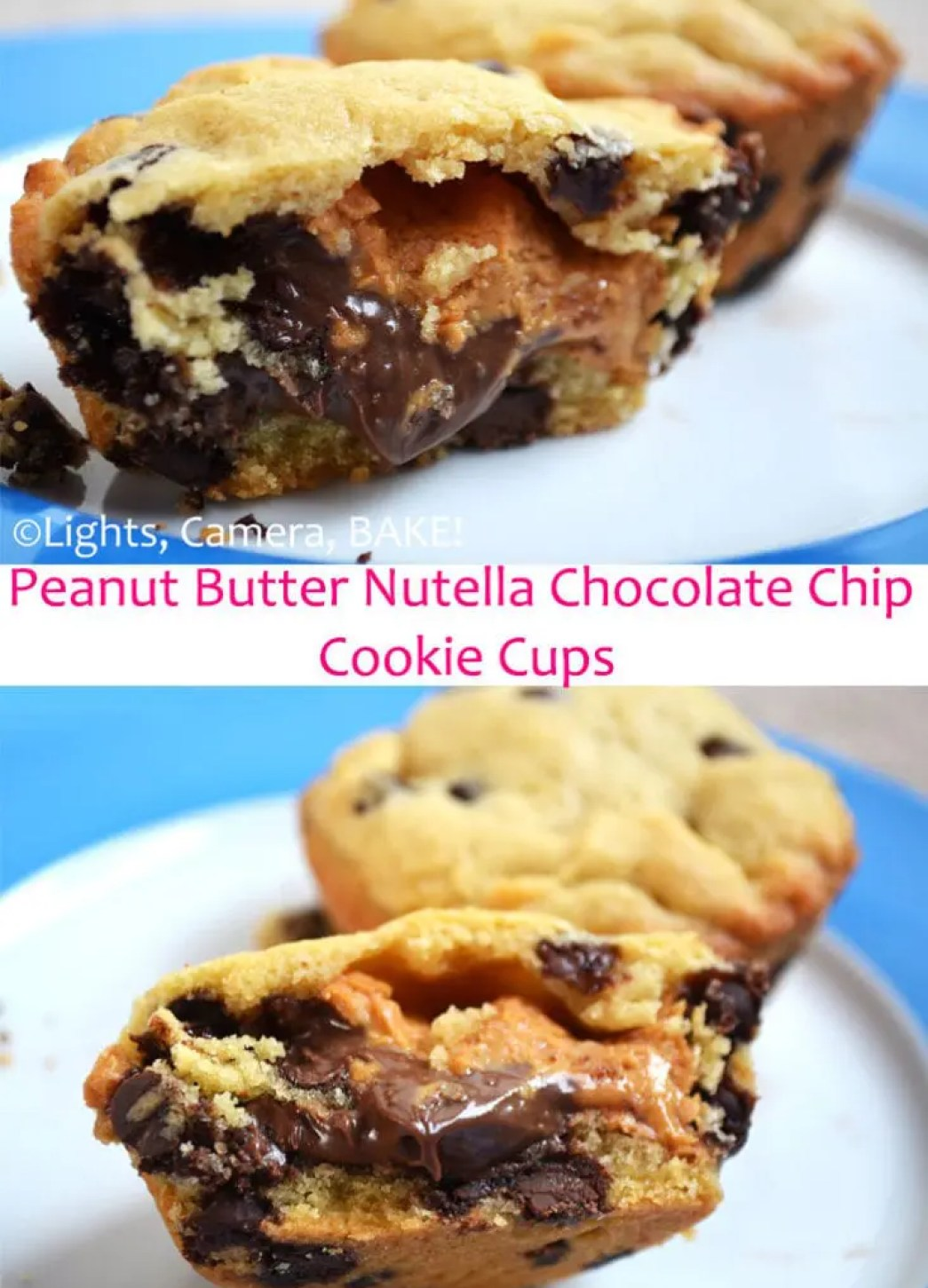 Peanut Butter Nutella Filled Cookie Cups. Goory peanut butter and Nutella encased in a soft and chewy chocolate chip cookie cup. So delicious and over the top goodness! #Recipe #chocolatechipcookies #nutellacookies