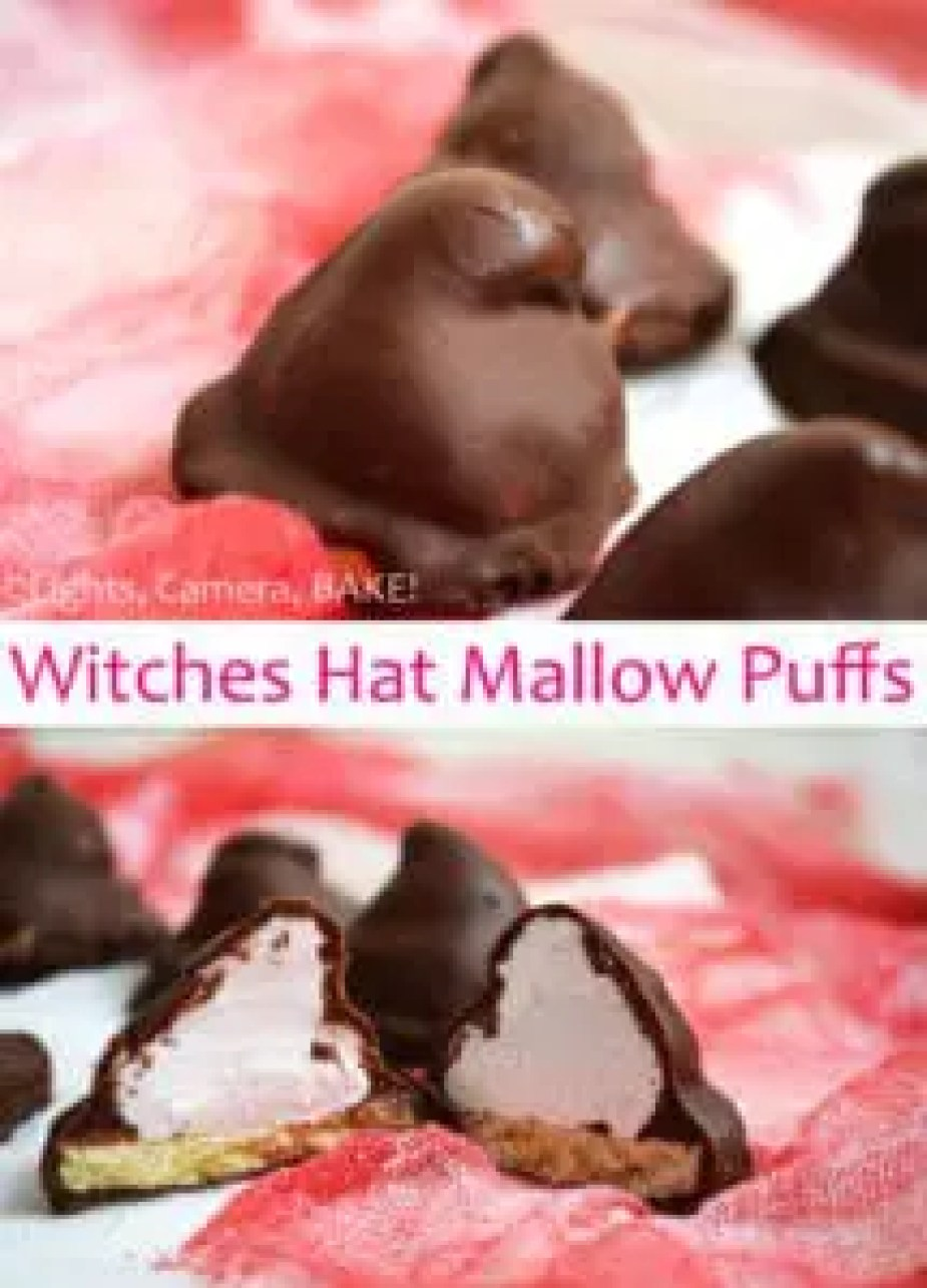 Witches Hat Mallow Puffs. A halloween take on traditional Mallow Puffs. Shortbread base, homemade marshmallow creme that is then smothered in chocolate! So good and perfect fro a halloween party. #mallowpuffs #homemademarshmallows #halloweenbaking