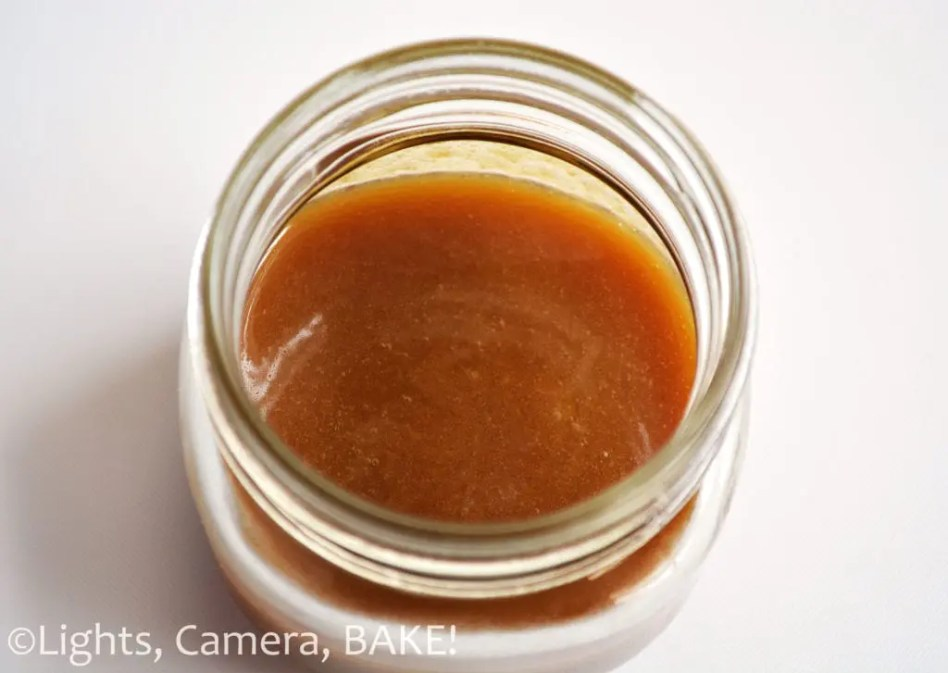 Salted Caramel Sauce. This is a simple four ingredient sauce that can be whipped up in 15 minutes and is a must have in a bakers kitchen! #saltedcaramelsauce #caramelsauce #saltedcaramelrecipes