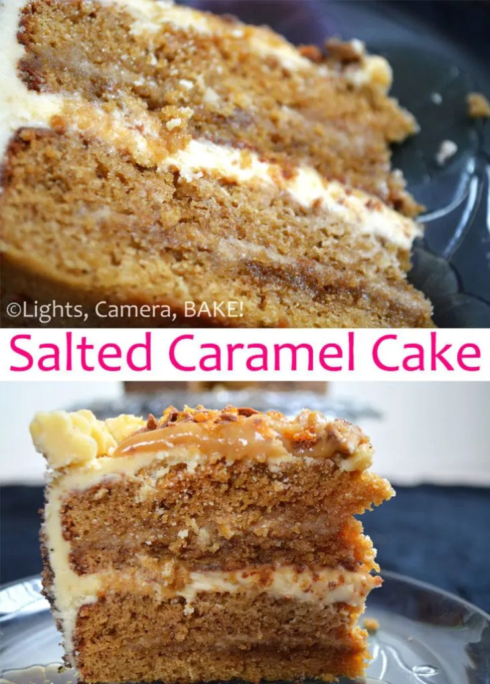 This Salted Caramel Layer Cake is a four layer caramel cake with salted caramel in between each layer with a cream cheese icing, topped with more salted caramel and broken honeycomb candy bars! A showstopper for sure! #saltedcaramel #caramelcake #celebrationcake