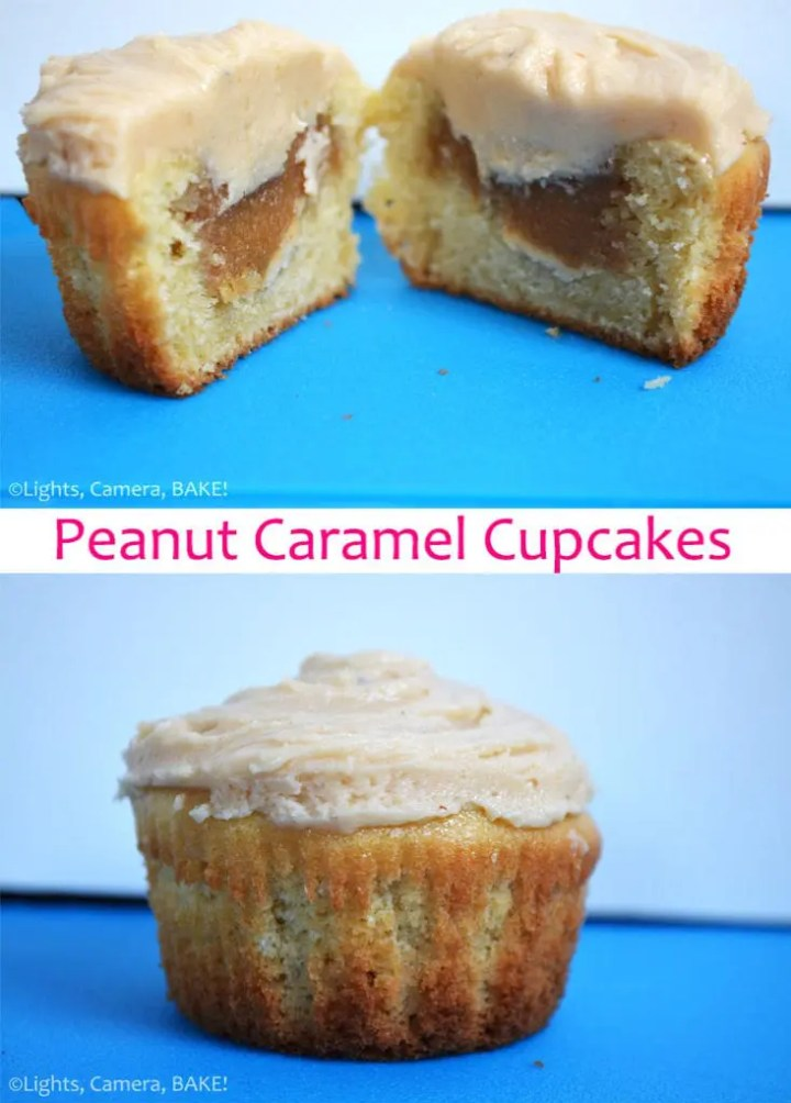 Peanut Caramel Cupcakes. Soft and fluffy vanilla cupcakes with a peanut caramel filling and a peanut butter frosting. These are soft, sweet and a peanut butter lovers dream! Click the photo for the #recipe #peanutcaramelcupcakes #peanutbuttercupcakes #caramelcupcakesrecipe