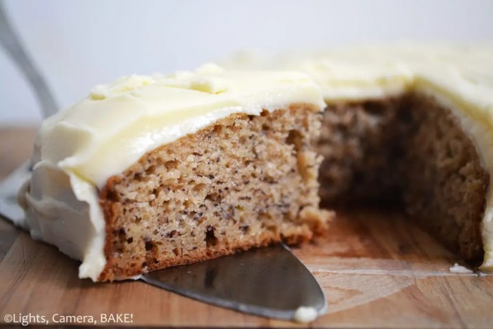 Banana Cake with Cream Cheese Icing. Moist, fluffy banana cake with a classic cream cheese icing. #Creamcheeseicingrecipe #bananacakerecipe #thebestbananacake