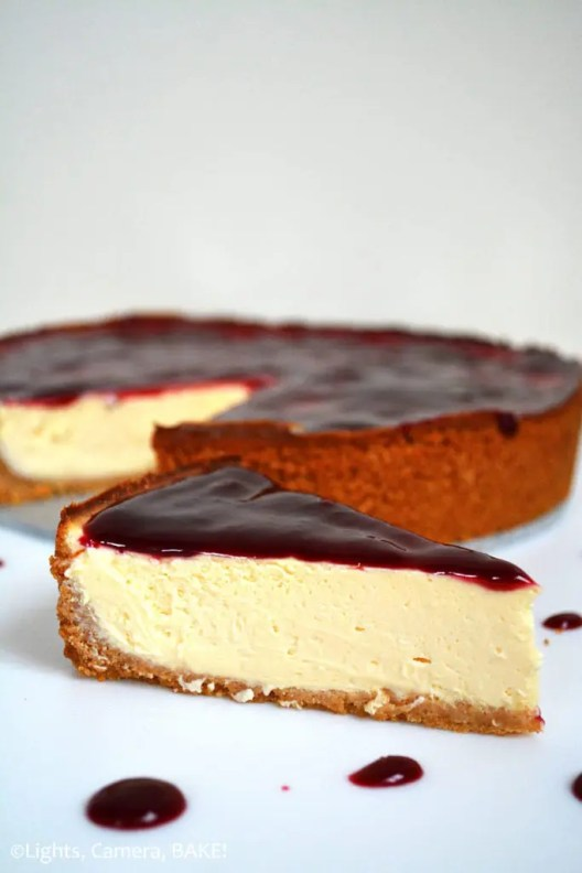Boysenberry Cheesecake. This is a soft, smooth, creamy, slightly tangy, melt-in-the-mouth boysenberry cheesecake. It's decedent, indulgent and a perfect dessert for any occasion. #boysenberrycheesecake #bakedcheesecake #boysenberrycheesecakerecipe