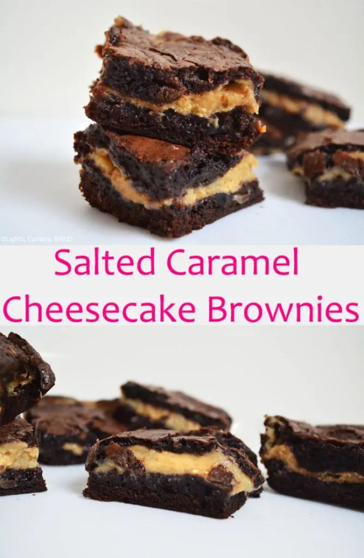 Salted caramel cheesecake brownies are a rich and fudgy chocolate brownie with a sweet, salted caramel cheesecake filling.