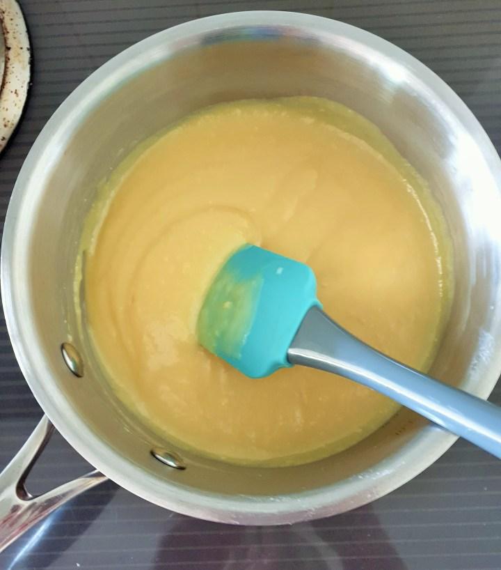 Caramel in a saucepan.