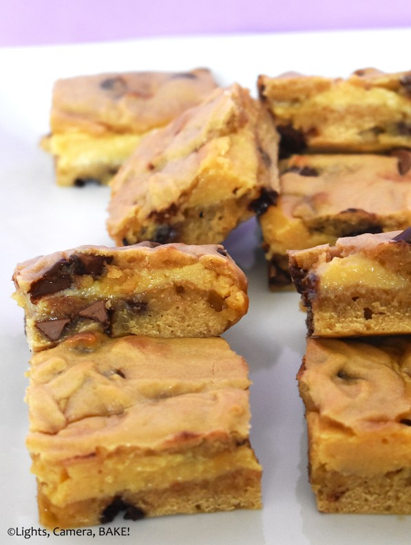 Gooey caramel cookie bars.