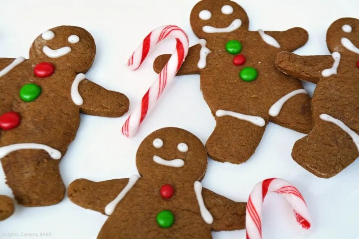 Classic Gingerbread Men are a soft centered cookies with a crisp outside flavoured with brown sugar, molasses and perfectly spiced with ginger, cinnamon and mixed spice. Decorated complete with candy cane walking sticks!