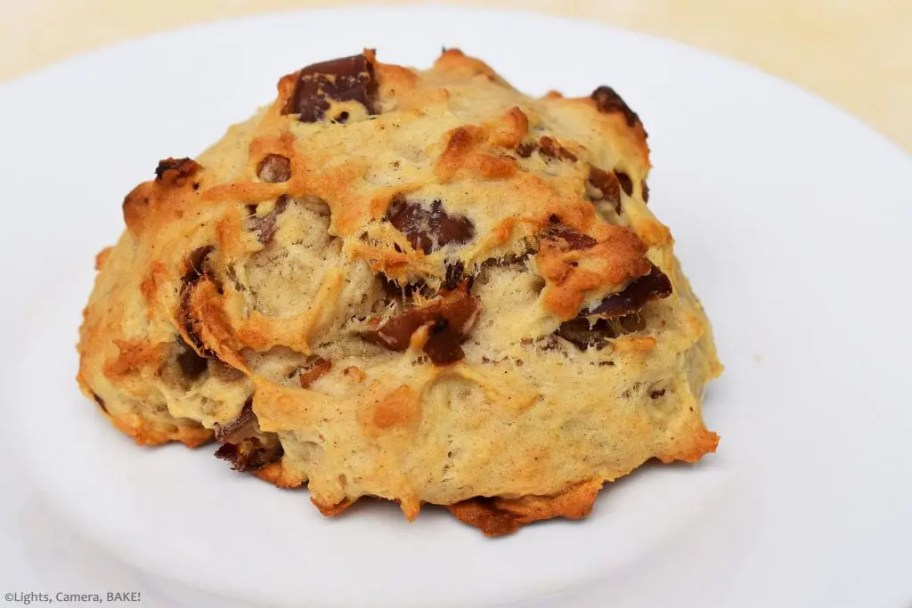 Easy Date Scone on a white plate. Packed with dates.