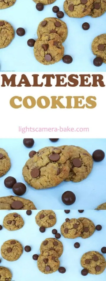 Malteser Cookies are soft and chewy,malted, chocolate chip cookies with crushed Maltesers throughout. #maltesercookies #maltesersrecipe #maltedchocolatechipcookies #chocolatechipcookies #maltcookies #maltrecipe #maltedchocolate