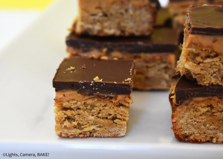 Peanut butter bars on a plate.