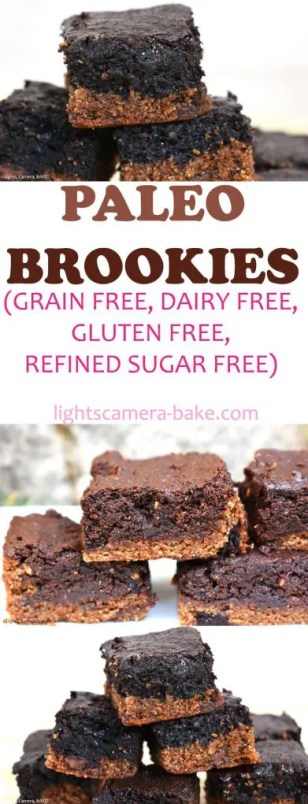 Paleo Brookies are gooey blondies topped with fudgy brownies that are completely guilt free but taste sinful! Paleo, dairy free, grain free, gluten free, refined sugar free and wheat free. #paleobrownies #paleoblondies #paleobrookies #brookies #paleobaking #paleorecipe #brookiesrecipe