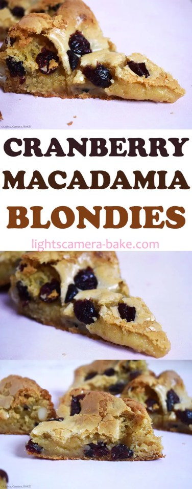 My Cranberry and Macadamia Blondies recipe is an ooey gooey white chocolate blondie filled with dried cranberries for a burst of sweetness and macadamias for a melting crunch. #cranberry #whitechocolate #whitechocolateblonides #cranberryblonides #macadamiacookies #macadamiablonides #cranberrywhitechocolatecookies