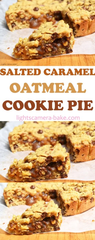 Salted Caramel Oatmeal Cookie Pie is a soft and chewy, classic oatmeal cookie base with a homemade salted caramel filling, baked as a pie (or cake) and served in slices with an oozing salted caramel centre. #oatmealcookies #saltedcaramel #cookiepie #oatmealcookiepie #saltedcaramelcookiepie #saltedcaramelcookies