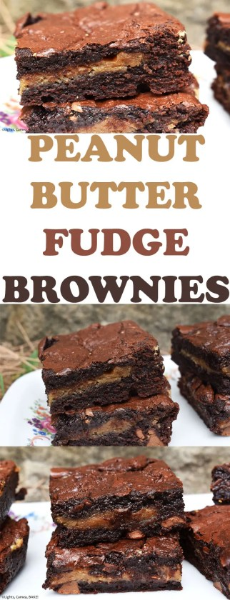 Peanut Butter Fudge Brownies are a rich and fudgy chocolate brownie with a layer of peanut butter fudge running through the centre for a rich and sweet peanut butter chocolate treat! 3peanutbutterbrownies #fudgybrownies #peanutbutterfudge #peanutbutterfudgebrownies