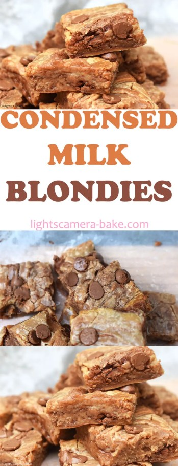 Condensed Milk Blondies are a twist on my VERY popular Condensed Milk Brownies recipe! This is the vanilla/caramel version of those brownies. We have an ultra fudgy and gooey blondie made from condensed milk. #condensedmilkblondies #condensedmilkbrownies #condensedmilkcookies #cookiedoughfudge #cookiefudge
