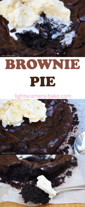 Brownie Pie is a chewy and fudgy brownie baked as pie for a rich gooey middle. #browniepie #fudgybrownies #brownies #fudgypie #pierecipe