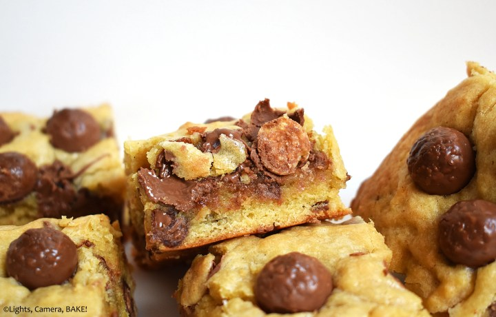 Malteser Cookie Bars are chewy and gooey, packed full of malt, chocolate and Maltesers to make these taste like Maltesers in cookie bar form! #malteserrecipe #maltesercookiebars #cookiebars