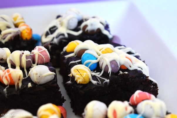 Mini Easter eggs on a brownie.
