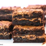 A stack of Biscoff brownies.