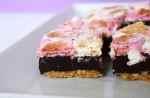 S'mores fudge pie slice on a white plate.