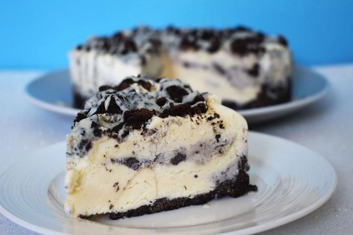 Slice of cookies and cream ice cream cake.