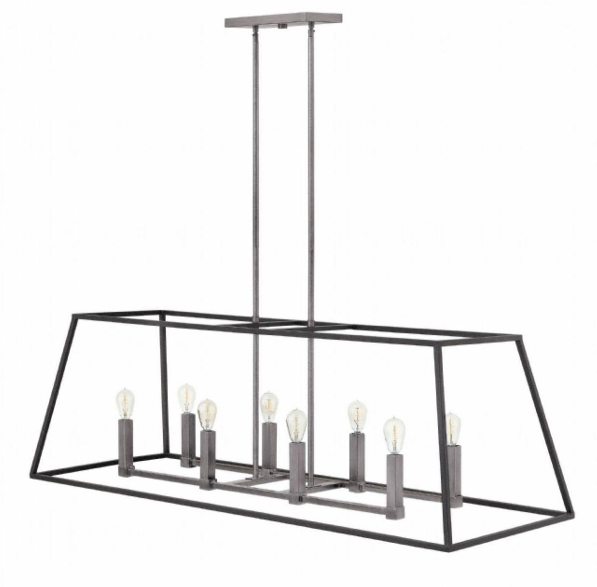 Hinkley Fulton 8 Light Hung Linear Pendant Light In Aged