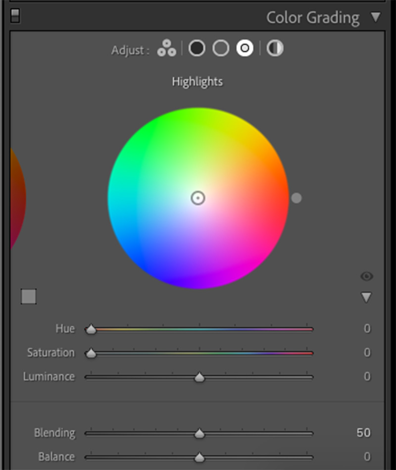 Adobe Lightroom's color wheel