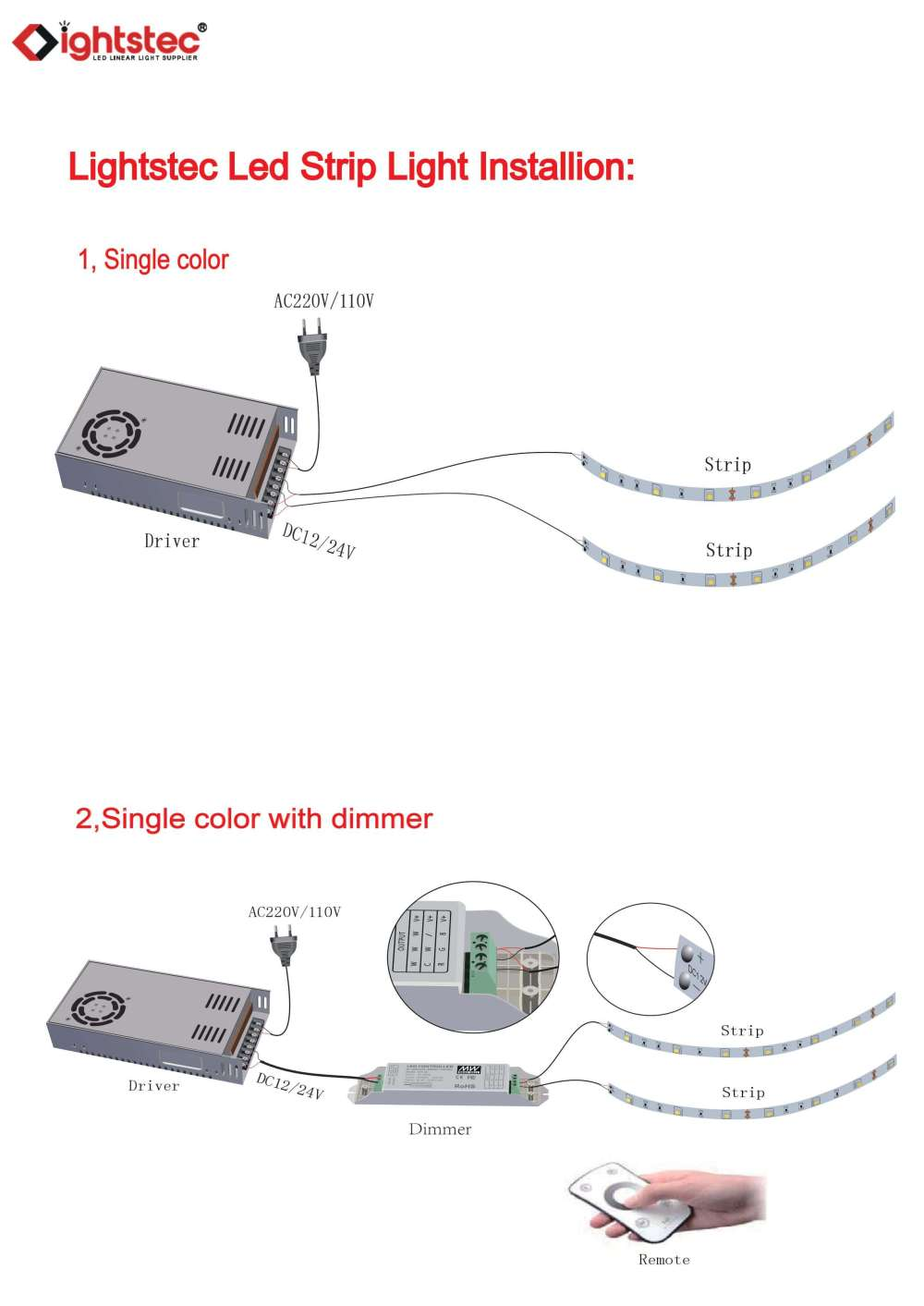 medium resolution of how to connect the led strip light with led power supply