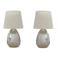 2 Pieces Touch Table Lamp Set in Chrome w White Shade ...