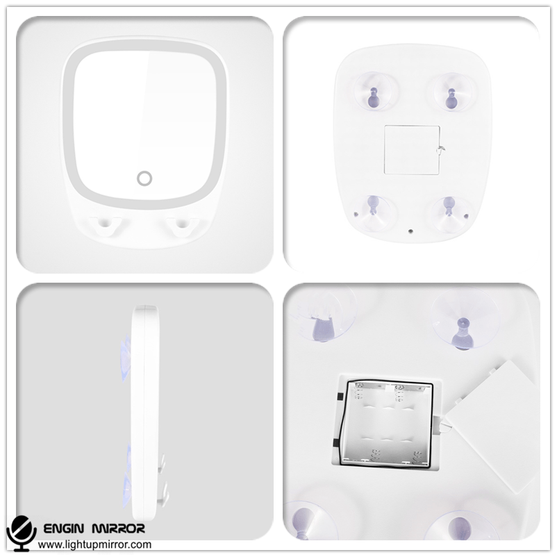 Lighted Bathroom Suction Cosmetic Mirror