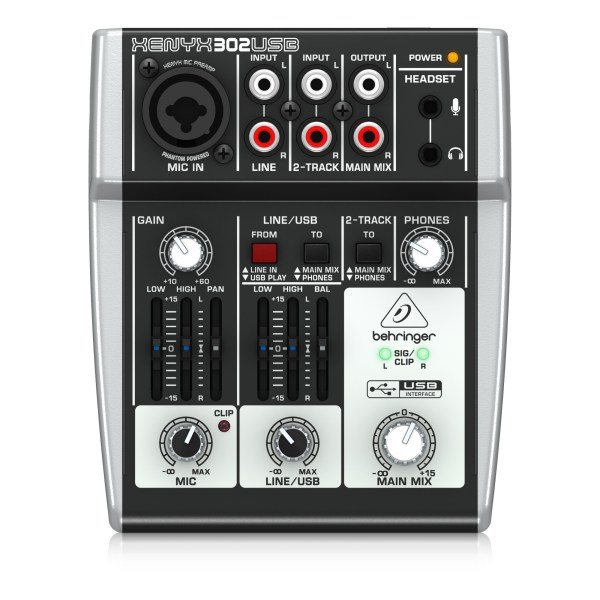 302USB : Premium 5-Input Mixer with XENYX Mic Preamp and USB/Audio Interface