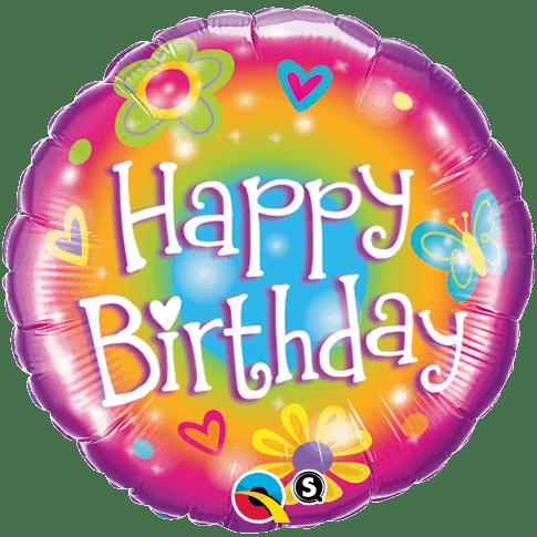 Qualtex 46cm Foil Happy Birthday (Flowers) Helium Balloon