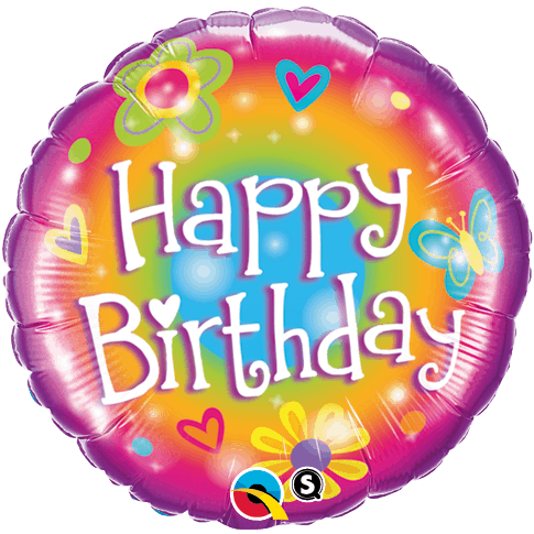 Qualtex 46cm Foil Happy Birthday (Flowers) Helium Balloon
