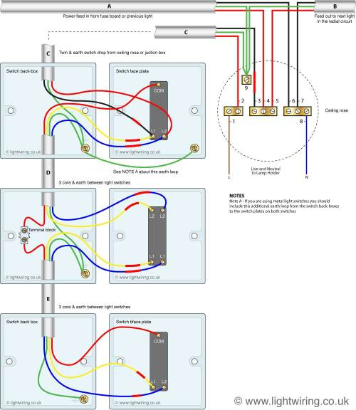 small resolution of three way light switching circuit diagram old cable colours