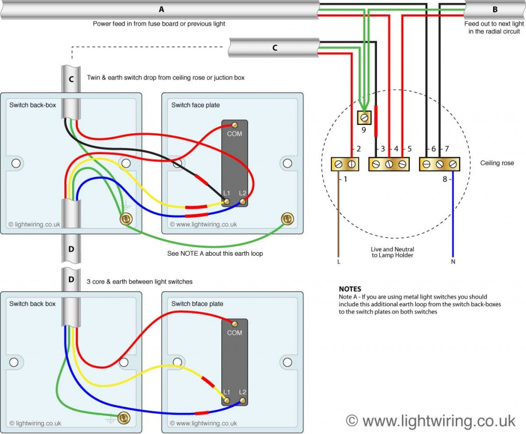 hight resolution of two way switching using a 3 wire control shown in the old cable colours fig 2
