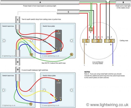 small resolution of two way switching using a 3 wire control shown in the old cable colours