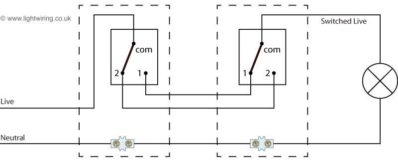 two way and intermediate lighting circuit wiring diagram
