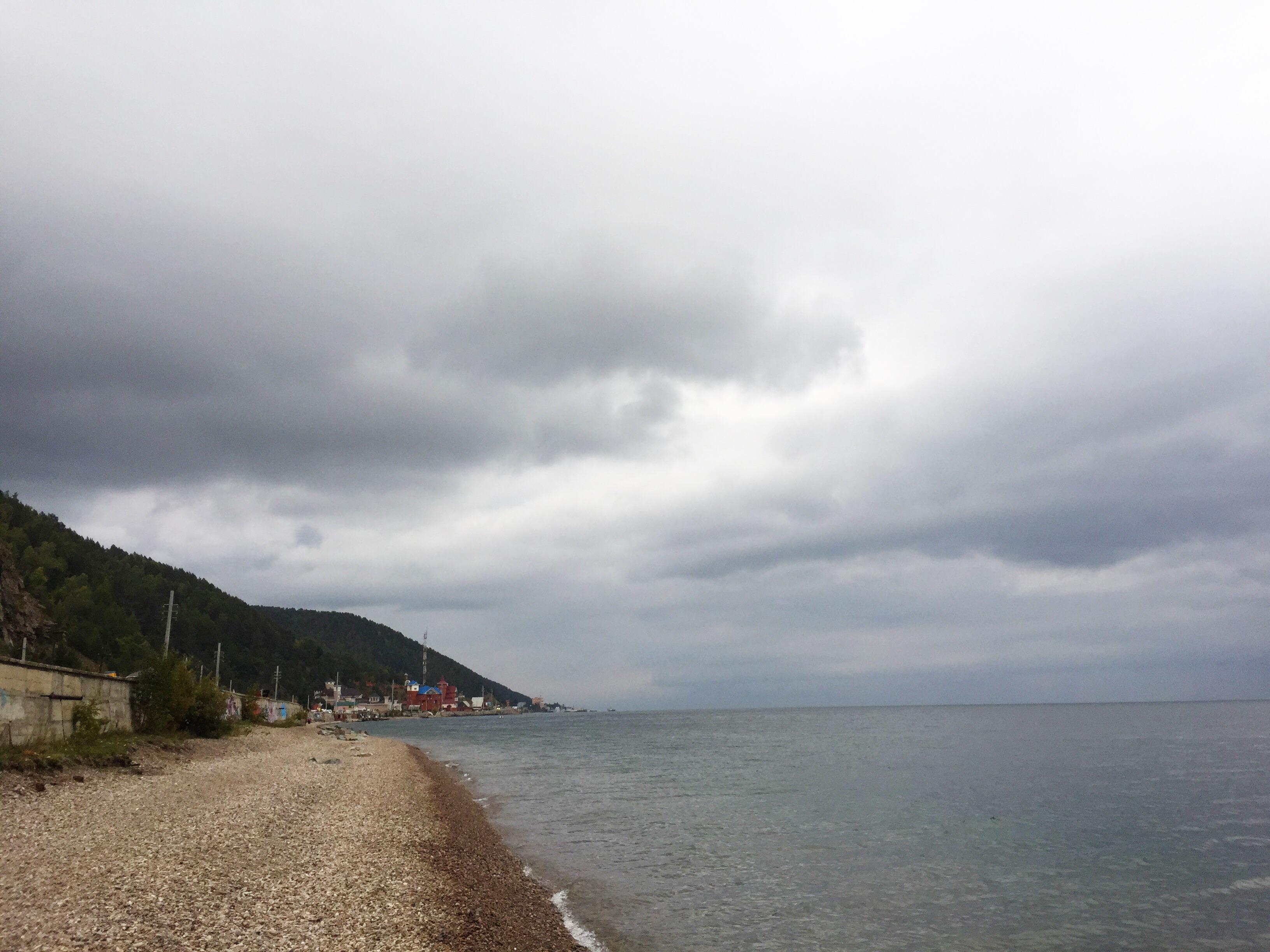 Walking along the shore.