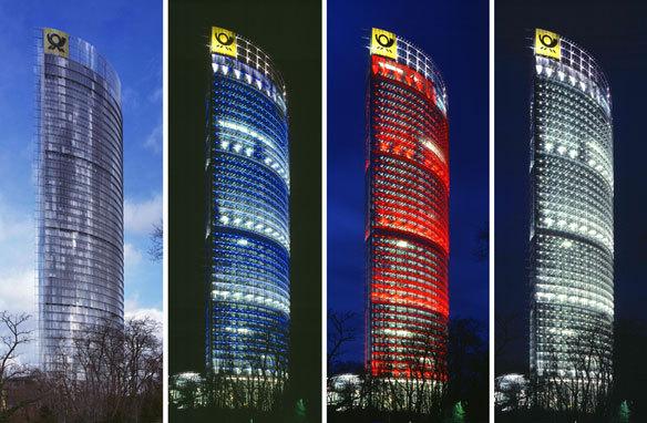 Deutsche Post, Bonn, Allemagne - Architecte : Murphy-Jahn - Conception lumière : L-Plan, Michael F. Rohde - Plasticien lumière : Yann Kersalé, AIK © Dirk Altenkirch