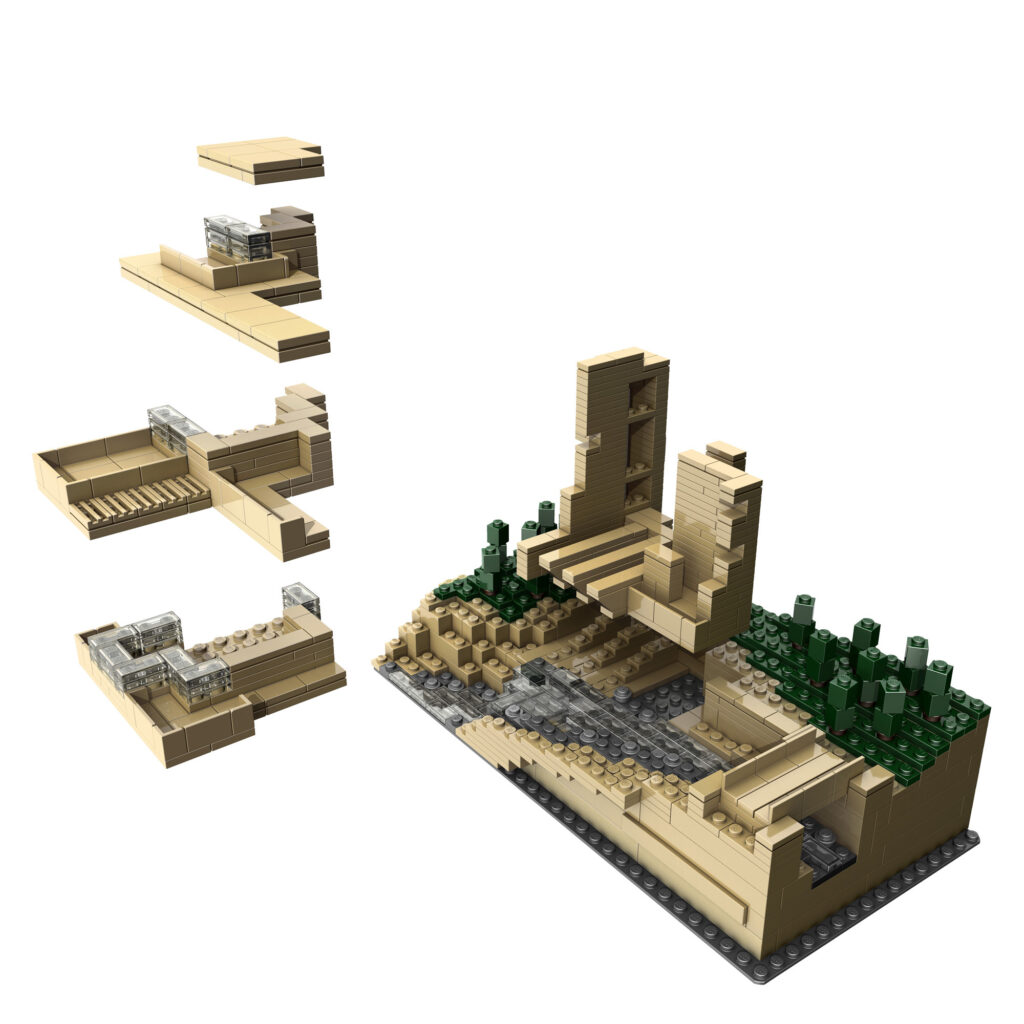 Ouverture de la Fallingwater de Frank Lloyd Wright à Mill Run, Pennsylvanie, États-Unis - Artiste : Adam Reed Tucker - Collection : LEGO Architecture