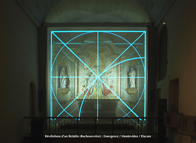 Révélations du Retable, église Saint-Sauveur, Rocheserviere, France © Atelier Emergence, Montevideo, Elacom