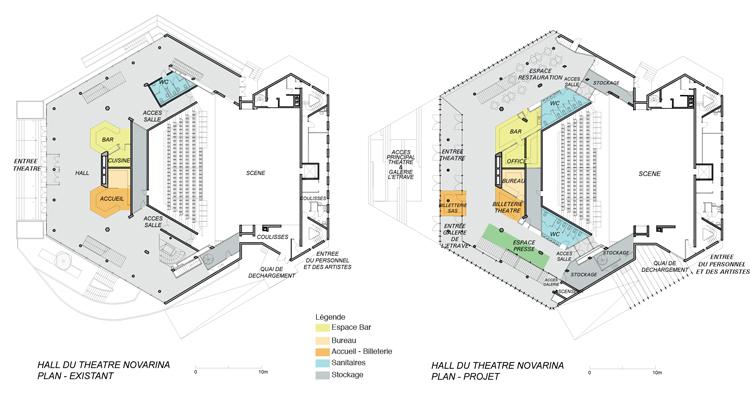 Plan avant et après rénovation - Théâtre Novarina, Thonon-les-Bains, France © WIMM architectes