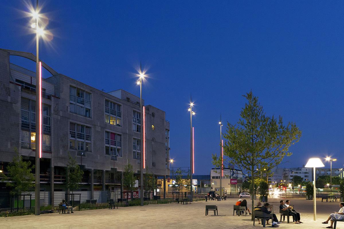 Place Aragon, Colombes, France - Paysagiste Arpentere - Concepteur lumière 8'18'' - Photo LEC