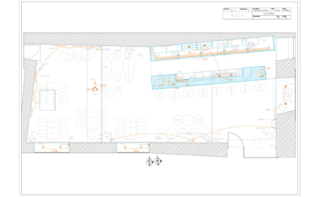 Caf K, Nantes, France - Plan d'implantation lumière - Design et dessin : RICH
