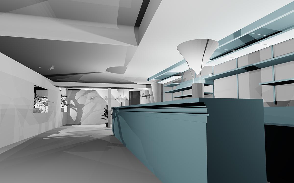 Caf K, Nantes, France - Volumétrie 3D lumière, vue de l'entrée- Design et axonométrie : RICH