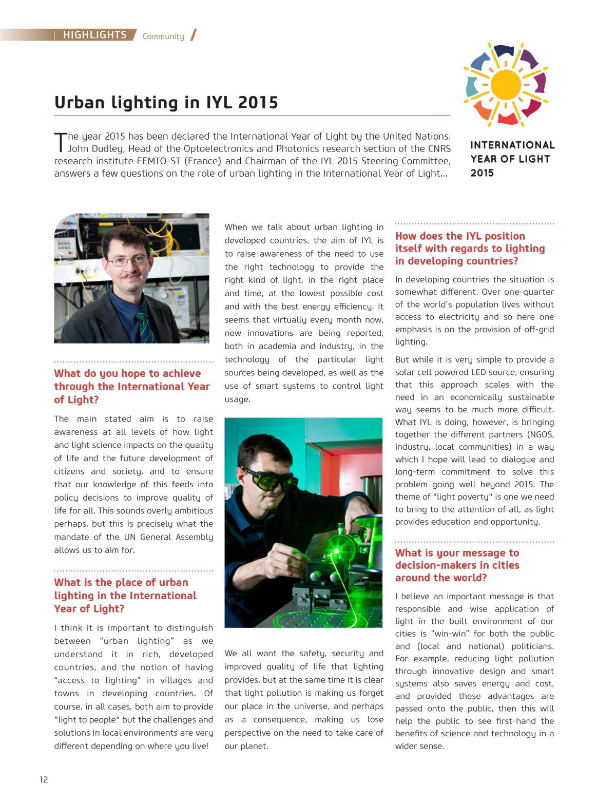 """""""Eclairage urbain dans l'année internationale de la lumière 2015, Interview de John Dudley - Cities & Lighting, LUCI network magazine, n°3, Avril 2015"""