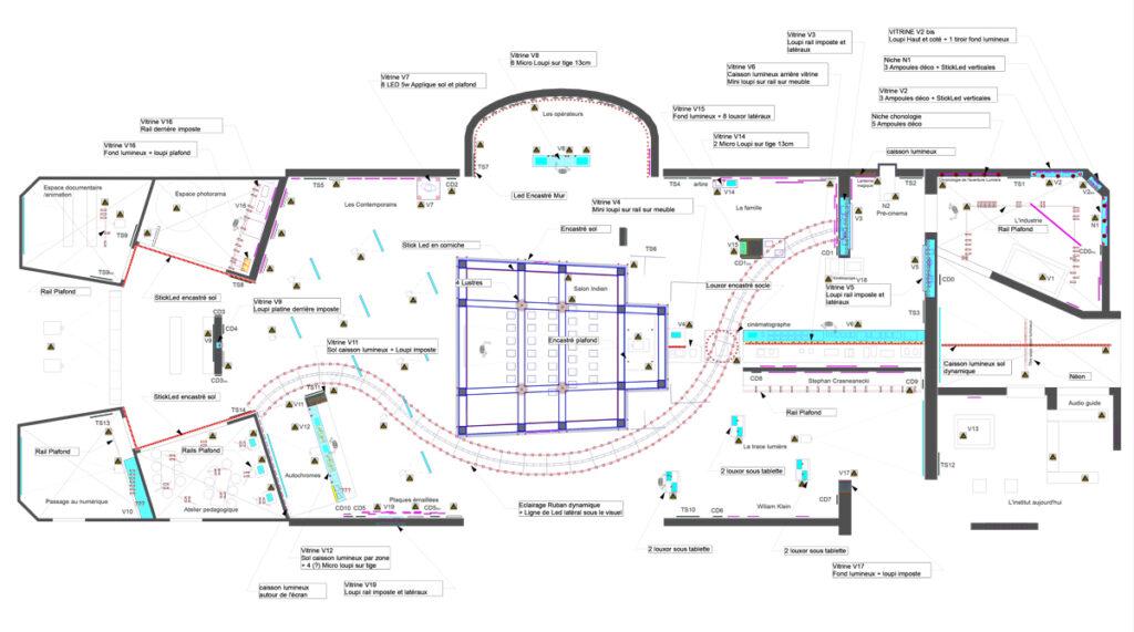 Lumière ! Le cinéma inventé - Plan d'implantation lumière - niveau des ponts - Scénographie : Agence NC - Création lumière et dessin : François Austerlitz et Mathieu Blaise