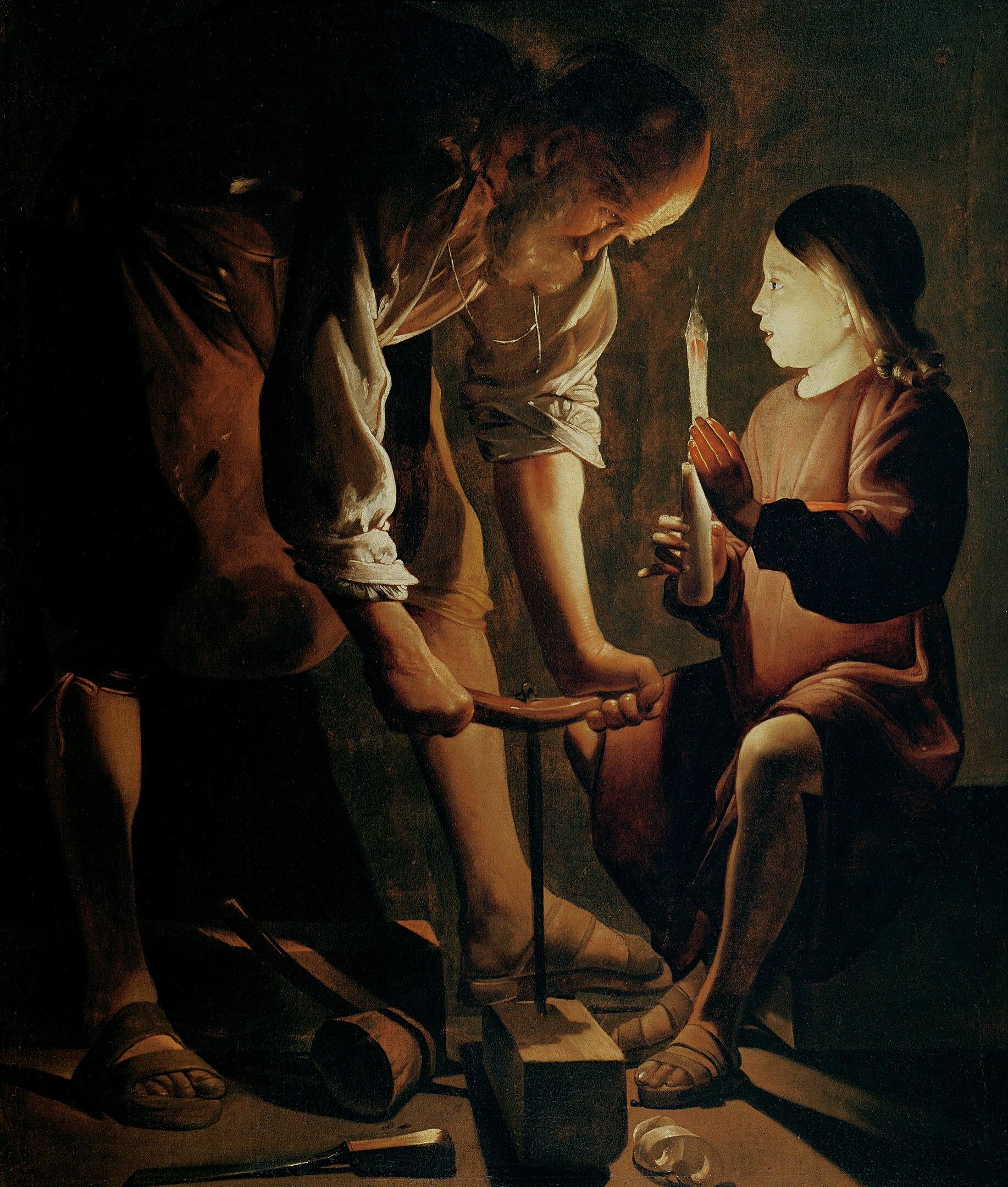 Saint Joseph charpentier, de Georges de La Tour, tableau de peinture, 1638-1645 - don au Musée du Louvre, Paris © Percy Moore Turner, Londres, 1948 - Wikipedia public domain - photographe Sammyday