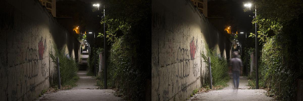 Détection en éclairage - Chemin des Carriers, Lyon